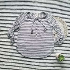 Loft Striped Perforated Knit Roll Sleeve Top M